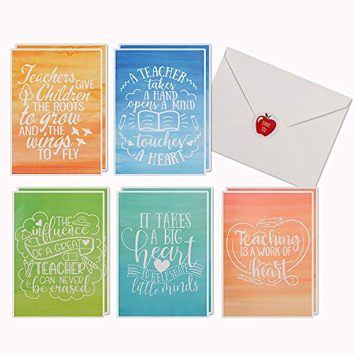 10 Teacher Thank You Cards with Matching Envelopes & Stickers   Bulk Appreciation Thank You Notes Pack for Teachers   Great Gift Set for Teachers Day or Valentines Cards for Teachers.
