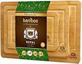 Bamboo Cutting Board Set with Juice Groove (3 Pieces) - Wood Cutting Boards for Kitchen, Wood Cutting Board Set, Kitchen Chopping Board for Meat (Butcher Block) Cheese and Vegetables