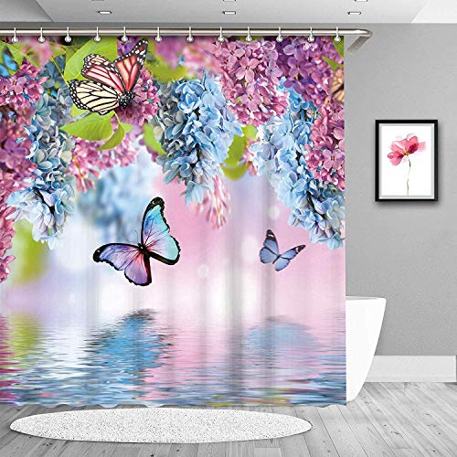 Blue Lilac Butterfly Fashion Shower Curtain Modern Cloth Fabric Bathroom Decor Set with Hooks 72x72inch (Blue Lilac Butterfly)