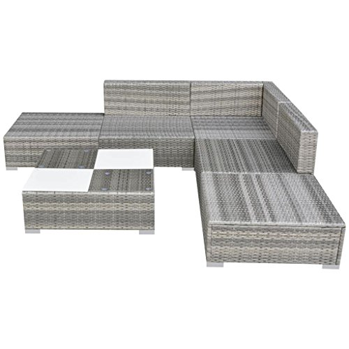 vidaXL Gartensofa 15-TLG. Poly Rattan Grau Sitzgruppe Lounge Gartenmöbel Set - 3
