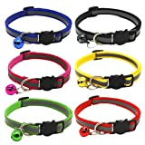 Hadeflia 6PC Pet Collars Reflective Safety Quick Release Neck Strap with Bells Dog Cat Adjustable Buckle Nylon Collar