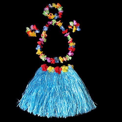 laoonl Faldas de hierba para bailar, faldas de mujer, disfraz de rendimiento hula, casco hawaiano, suministros de decoracin para fiestas para nios y adultos
