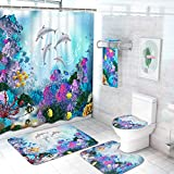 Ikfashoni 7 Piece Dolphin Shower Curtain Set with Rugs and Towels, Include Non-Slip Rug, Toilet Lid Cover, Bath Mat and Towels, Under The Sea Shower Curtain with 12 Hooks for Bathroom