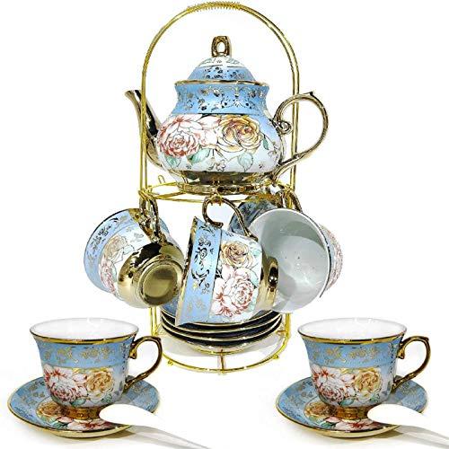 DaGiBayCn - Juego de té de cerámica (20 unidades, set de té para adultos, set de té para beber, café, té fuerte, azul