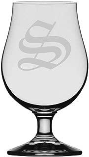 Old English Etched Monogram Glencairn Crystal Iona Beer Glass (Letter S)