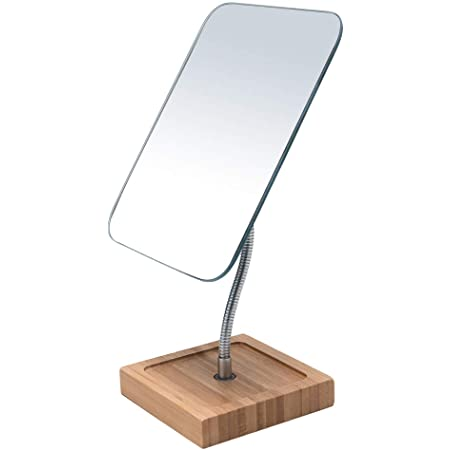 "YEAKE Flexible Gooseneck Bamboo Vanity Makeup Mirror,360°Rotation 8"" Large Frameless Vanity Mirror Folding Portable Table Desk Mirror with Stand Bathroom Shaving Make Up Mirrors Rectangle"
