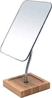 آینه آرایشی بامبو انعطاف پذیر Gooseneck بامبو ، 360 درجه چرخش 8 اینچ بزرگ آینه بدون قاب تاشو میز آینه میز قابل حمل با پایه حمام تراشیدن آینه مستطیل