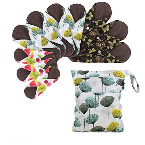 """Teamoy 10pcs Cloth Panty Liners, Reusable Sanitary Pads with Wet Bag, Washable Cloth Menstrual Pads with Charcoal Absorbency Layers (Country Style, 3pcs×7.9""""+4pcs×10""""+3pcs×11.6"""")"""