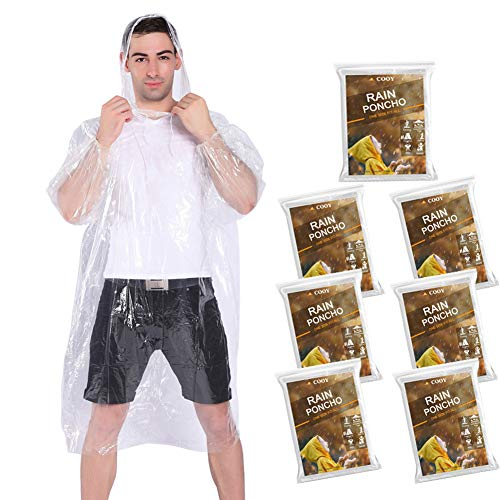 COOY Rain Ponchos,with Drawstring Hood (7 Pack) Emergency Disposable Rain Ponchos Family Pack for Adults,Fit Men and Women, Perfect for Disneyland,Clear
