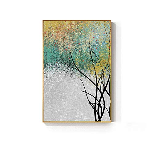 Green Forest Canvas Painting for Living Room Bedroom Golden Tree Big Poster Print Unique Wall Art 50x75cm