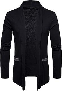 Sliktaa Mens Knitted Cardigan Sweater Long Sleeve Open Front Shawl Collar Knitwear