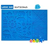 3D Printing Pen Silicone Design Mat with Basic Template and Animal Patterns, with 2 Silicone Finger Caps, Great 3D Pen Drawing Tools(Blue)
