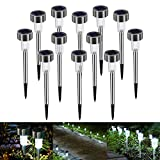 Bawoo Solar Garden Lights Outdoor, Upgraded Solar Powered Lights LED Outside Waterproof Lamps with Star Pattern for Garden Path Yard, 12 Pack