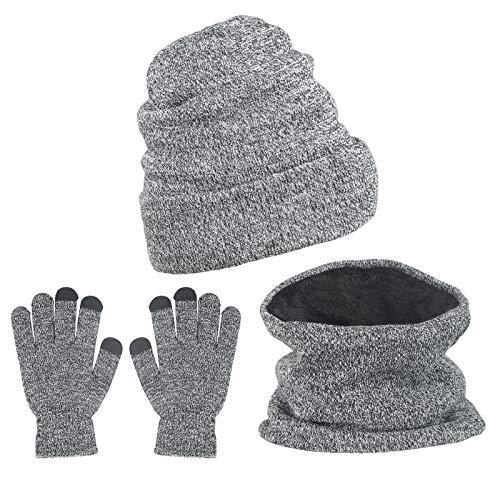 ZoomSky 3 in 1 Damen Winterschal Warme Wintermütze mit Fleecefutter Wintermütze Herren Strickmütze Winterzubehör für Wandern Laufen