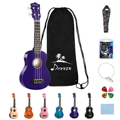 Donner DUS-10P Soprano Ukulele Ukelele Beginner Kit for Kids Students 21 Inch Rainbow with Bag, Strap,Strings, Tuner, Picks, Polishing Cloth - Purple
