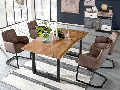 Woodkings Tischgruppe Clinton, Esstisch 170x90 mit 4 Schwingstühlen, Holztisch mit Baumkante, Esszimmerstuhl Kunstleder braun, Metall schwarz, Esszimmer Möbel