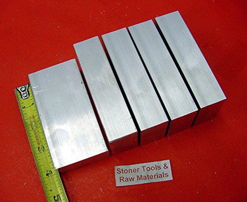 5 Pieces 1' X 2' ALUMINUM 6061 FLAT BAR 4' long Solid T6511 Plate MILL STOCK