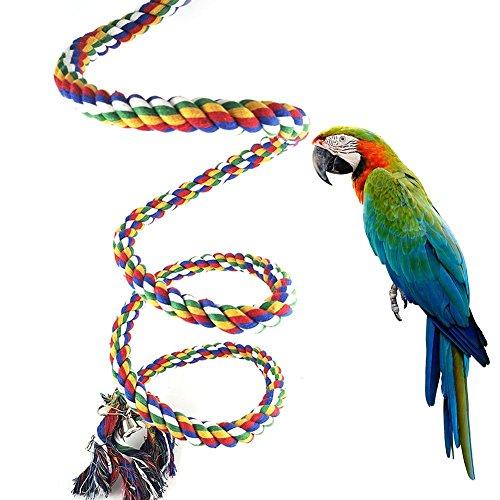 Toruiwa 1X Papageien Swing Papageien Spielzeuge Weben Leiter Papageien Kletterseil mit Glocke für kleine Papageien und andere kleine Vögel (2M)
