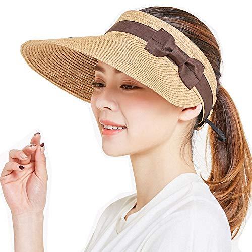Visiera da Sole Pieghevole in Paglia Estiva da Donna con Visiera Arrotolabile UPF 50+ Impacchettabile con Visiera a Tesa Larga Cappello da Spiaggia