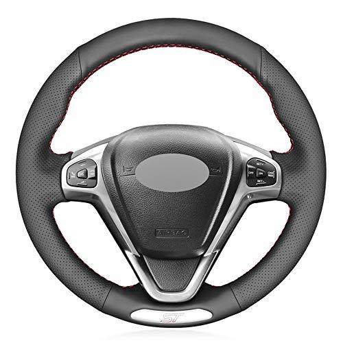 unknow Handgenähte Auto-Lenkradabdeckung aus schwarzem PU-Leder für Ford Fiesta ST 2013 2014 2015 2016 2017 2018
