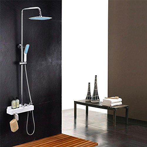 Luxe Nouvelle arrivée Chrome Laiton Ensemble de douche pluie robinet robinet mitigeur de baignoire avec douche à main en ABS Douche et baignoire robinet