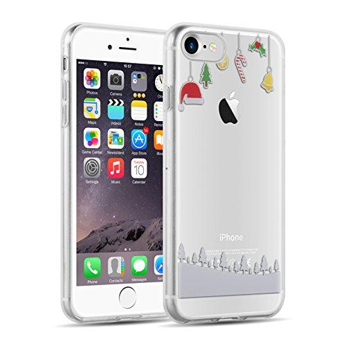 JAMMYLIZARD Custodia per iPhone 8 e iPhone 7 | Cover [Sketch] in Silicone Trasparente Morbido Ultra Slim con Disegno Fantasia di Natale, Decorazioni Natalizie