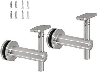 Stainless Steel 316 Grade Glass Railing Adjustable Staircase Handrail Bracket for Square Rectangle Tubing, GB-210S, (Satin Finish, 2-Pack)