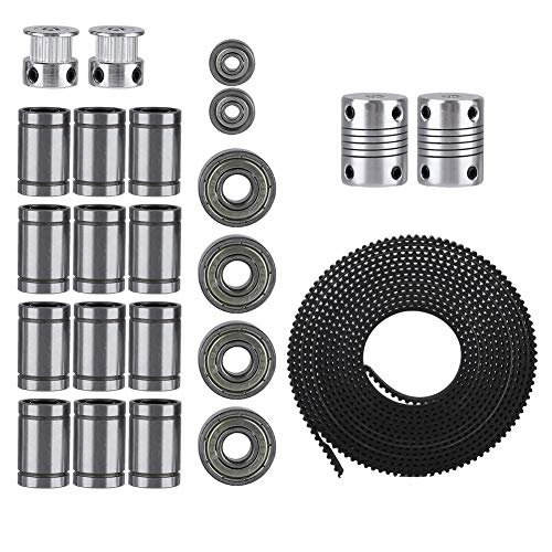 Fdit GT2 Timing Belt Pulley Kit, 2 Meter GT2 Timing Belt + 20T Timing Pulley + 608zz Bearing + LM8uu Linear Bearing + 624zz Bearing + Motor Shaft Coupler for Prusa i3