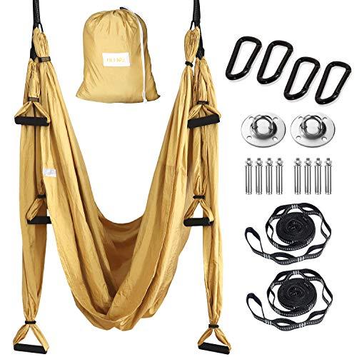 HELIOZ Columpio de Yoga, Kit de Hamaca Yoga Aéreo, Mosquetones de Bordes Lisos, para Hogar, Gimnasio, al Aire Libre