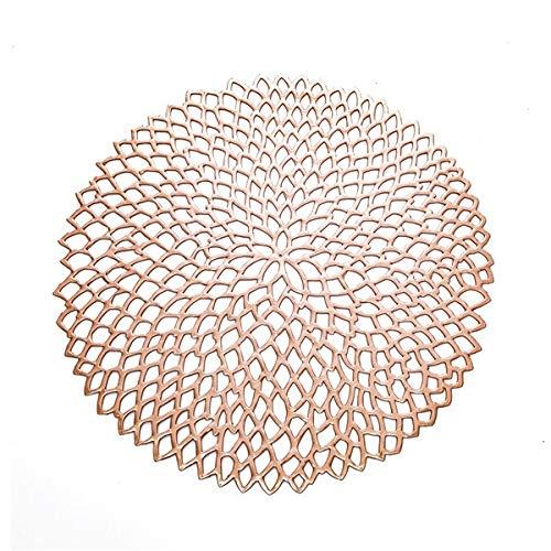 Oneriverspring40 Tafel Plaats Matten Placemat Voor Eettafel PVC Kunststof Holle Isolatie Ronde Barok Mediterrane Coaster Pads Tafel Bowl Matten Home Decor 36cm