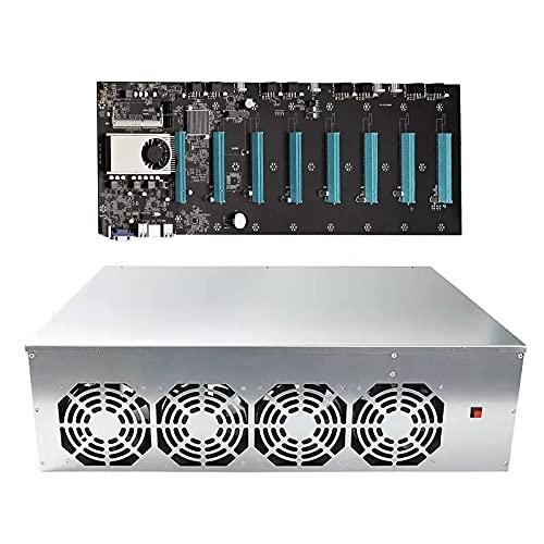 Juego de placas madre de CPU de plataforma de minería, 8 GPU completo minero Rig, sistema de máquina de minería para minería de moneda criptográfica, GPU Miner incluyendo CPU,Motherboard,Case, BTC S37