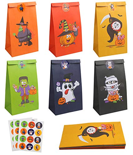 DERAYEE 24 Pieces Halloween Bag Party Bag Paper Gift Bag with 24 Pieces Halloween Stickers for Sweets for Halloween Party Supplies