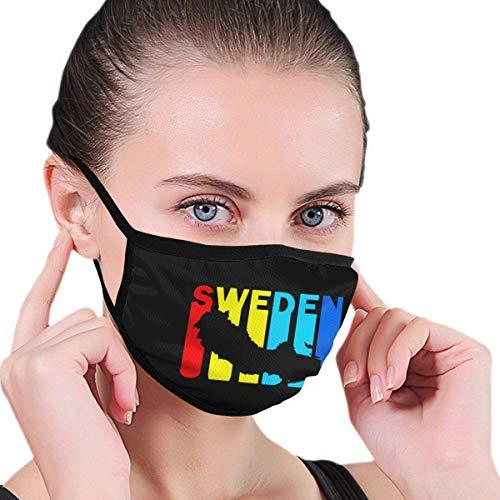 Mode ansiktsskydd, masker, munskydd, balaklava, Sverige retro 1970 S stil unisex tvättbar återanvändbara bekväma dubbla lager ansiktstryck grafiska armband svart