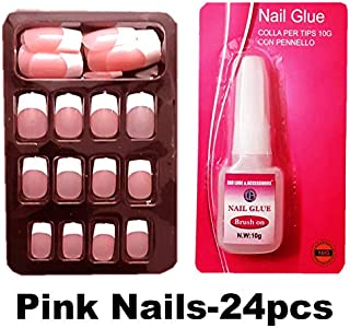 Press-On Artificial PINK Nails (Pack Of 24Nails)