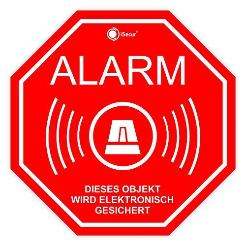 6er Alarm-Aufkleber-Set I hin_166 5x5 cm I Achtung Gebäude, Objekt ist elektronisch Alarm-gesichert I für Fenster-Scheibe, Tür I...