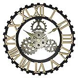 Brushes Reloj de Pared de Engranaje Reloj Decorativo Estilo Industrial Internet café Retro 3D Hueco Reloj de Pared