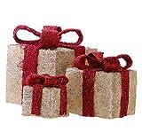 Bambelaa! 3er Led Deko Geschenke Leucht Boxen Timer Weihnachts Dekoration Weihnachtsdeko Beleuchtet Deko Weihnachten (Gelb) - 3