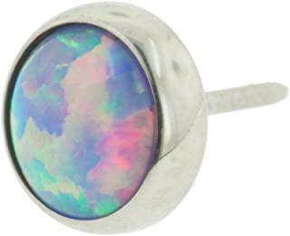 Steel Navel Body Jewelry Threadless High Polish Titanium Synthetic Opal Cabochon End with 4mm Gem