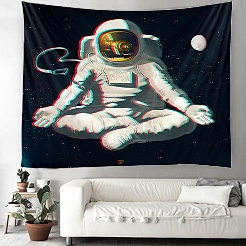 KHKJ Tapiz de Astronauta y arcoíris Mandala brujería Hippie Tapiz de macramé decoración Boho Tapiz Colgante de Pared A7 150x130cm