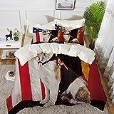 Derun Bettwäsche 3 Teilig Bettgarnitur,USA-Flagge United States Bulldog Marine Corps mit USA-Flagge,Gemütlich Mikrofaser 1 Bettbezug Set 135 x 200 cm + 2 Kissenbezug 50x80 cm