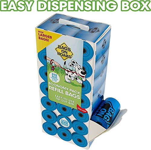 Bags On Board Dog Poop Bags | Strong, Leak Proof Dog Waste Bags | 9 x14 Inches, 315 Blue Bags 6