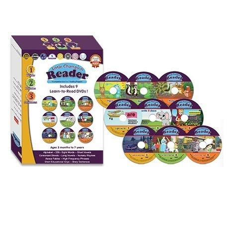 Early Learning Reading 9 DVD Set with 3 Levels - Teaches Alphabet, Sight Words, Phonics, Phrases, Story Sentences, and Nursery Rhymes with 35 Video Lessons - Baby, Toddler, Preschool, Kindergarten