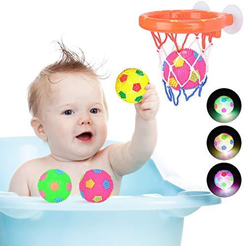 MMTX Baby Badewannenspielzeug mit 3 LED Ball Set Schwimmendes Badespielzeug Hoop Badewanne Wasserspielset Dusche Bad Schwimmbad Blinkende Farbe Gummiball für 1 2 3 4 5 Jahre Baby Kleinkind Kinder