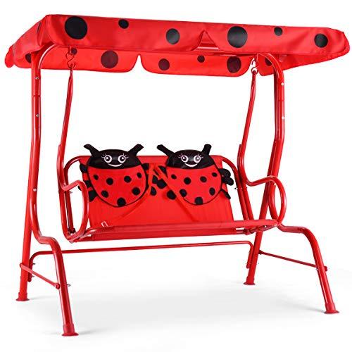 COSTWAY Kinder Hollywoodschaukel Marienkäfer, Kinderschaukel, Gartenschaukel mit Sonnendach, Gartenliege 2-Sitzer, Schaukelbank Gartenbank Rot