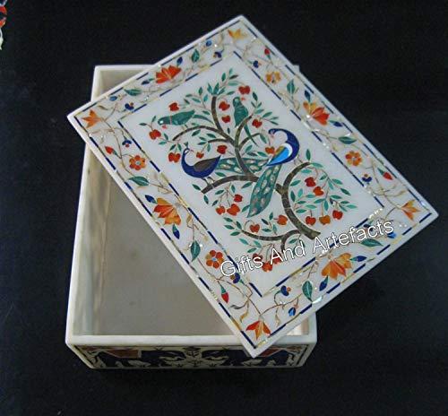 Caja de joyería de mármol Pietra Dura Art de 20,3 x 25,4 cm, con piedras preciosas de Indian Crafts