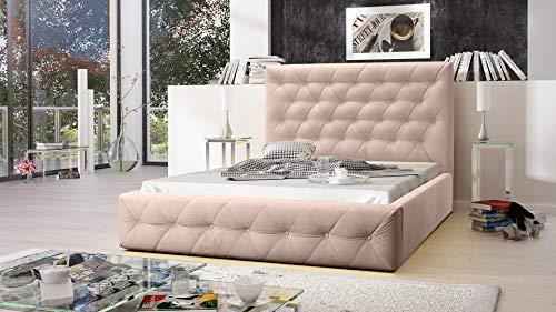 MG Home Möbel Bett Polsterbett Schlafzimmer Doppelbett Roma Beige (Amore Beige, 200 x 200 cm)