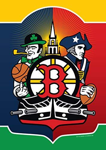 Citizen Pride Boston Sports Fan Crest Garden Flag by Joe Barsin, 12x18-Inch, Decorative USA-Produced