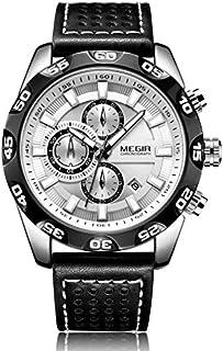 ساعة كوارتز للرجال من ميجر بشاشة عرض كرونوغراف وسوار من الجلد - طراز 2096G