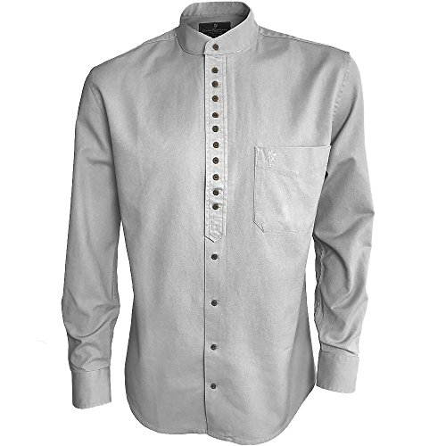 The Celtic Ranch Traditional Irish Grandfather, Men's Long-Sleeve Collarless Shirt, Ash (XXX-Large)