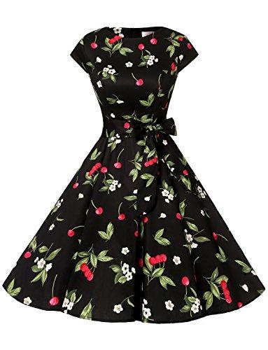 Dressystar Damen Vintage 50er Cap Sleeves Dot Einfarbig Rockabilly Swing Kleider Kleine Schwarze Kirsche A S